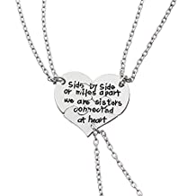 Big Middle Little Sister Necklaces Set Side by side or miles apart we are sisters connected at heart 3pcs