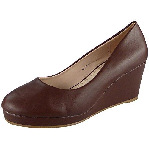 Damen Plattform Mitte Hacke Bequem Beiläufig Arbeit Keil Gericht Schuhe Größe 36-41 Braun