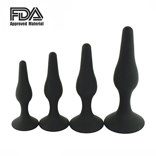 Anplex Anals Plug -100% Medical Grade Silicone 4PCS Butt Plug Dock Simulation Training Kit for Beginners Experienced Users Sex Toy for women and couples