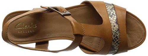 Clarks Rusty Rebel Damen T-Spangen Sandalen Braun (Tan Leather)