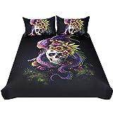 Black and Purple Duvet Set Sleepwish Flowery Skull by Sunima Bedding Set 3pcs Purple Black Dragon Skull Duvet Cover Gothic Bed Set for Men (Queen)