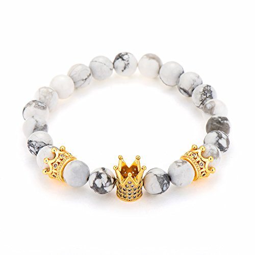 POSHFEEL Gold Plated CZ King Crown Beaded Stretch Bracelet 8mm White Turquoise Beads, 7.5