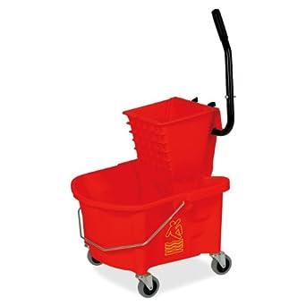 Genuine Joe GJO18800 Plastic Mop Bucket/Wringer Combo, 6.50 gallon Capacity, Red