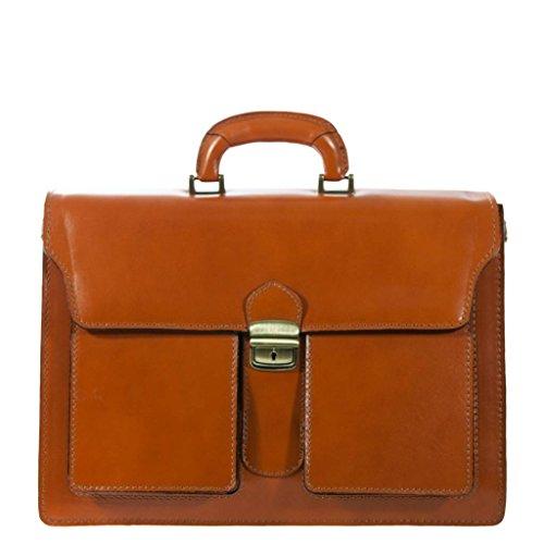 FIRENZE orange Aktentasche / Arbeitstasche in echtem Leder aus Italien, Carelli Italia