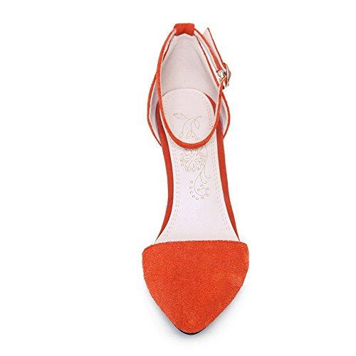 Amoonyfashion Da Donna Imitato In Pelle Scamosciata Con Fibbia A Punta Di Tacco Alto Sandali Con I Tacchi Arancioni