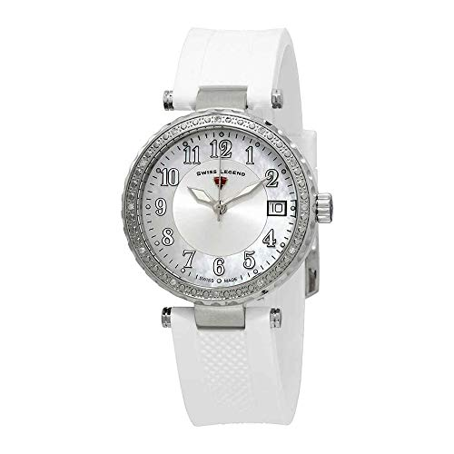 (Swiss Legend Women's 'Sea Breeze' Quartz Stainless Steel and Silicone Watch, Color:White (Model: 16002SM-02-WHT))