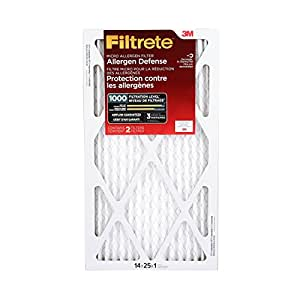 Filtrete MPR 1000 14 x 25 x 1 Micro Allergen Defense AC Furnace Air Filter, Captures Small Particles like Pollen & Pet Dander, Uncompromised Airflow, 2-Pack