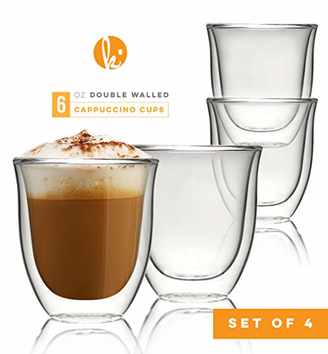 Stackable Cappuccino Cup - Glass Cappuccino Cups Double Walled Coffee Glasses Set of 4 - Clear Thermo Insulated Stackable Mugs, 6 oz