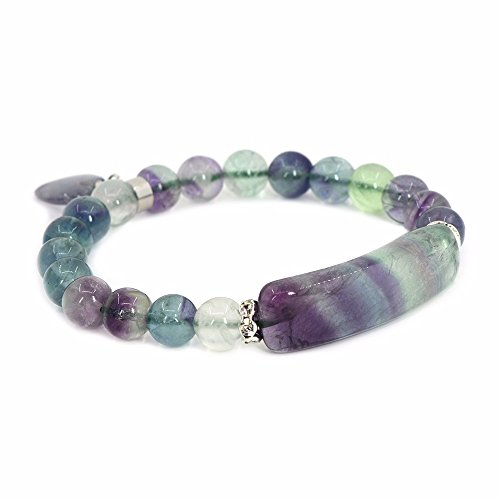 Natural Fluorite Gem Semi Precious Gemstone Love Heart Charm Stretch (Fluorite Gemstone Bracelet)