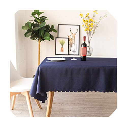 Cover Cotton 134 (Solid Color White 100% Polyester Tablecloth Dining Room Table Cloth Rectangle Plain Red Table Cover,Navy Blue,134X183Cm)
