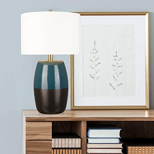 """Catalina Lighting 22101-000 Modern 2-Tone Ombre Glass Table Lamp with Brass Accents, 26.5"""", Matte Black/Blue"""