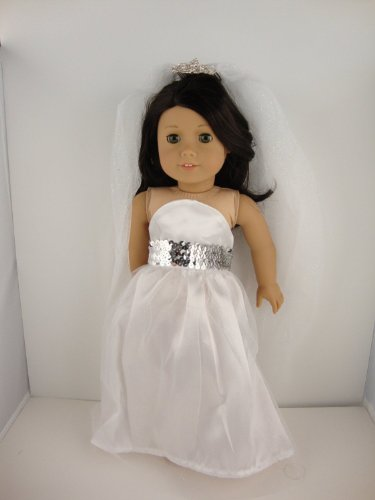 own with Silver Sequins on the Botice with Long Fancy Veil with Diamond and Metal Comb Attached Designed for 18 Inch Doll Like the American Girl Dolls ()