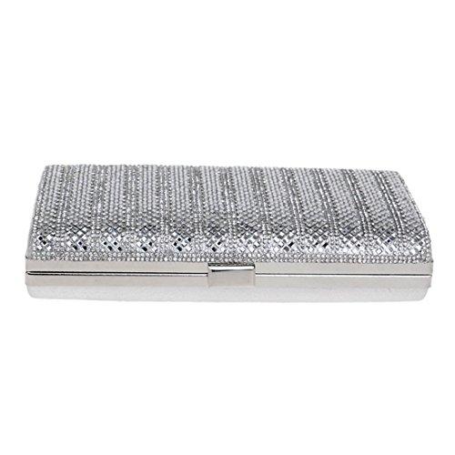 Mujeres De Bolso color Silver Las Cvthfyk Silver Chispeante Brillo Para Embrague Del Tarde Boda Señoras A81fq