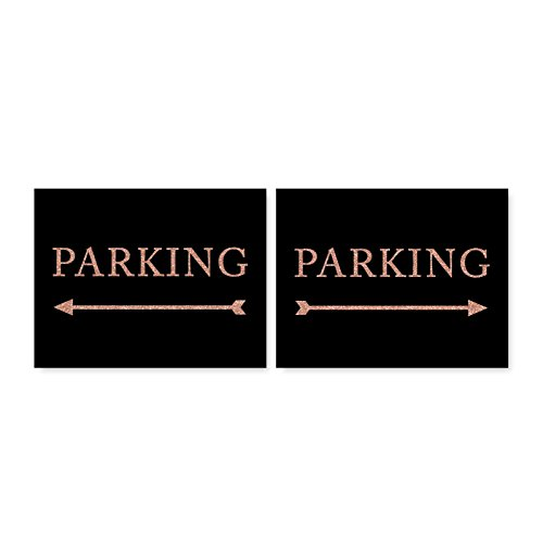 Andaz Press Wedding Party Directional Signs, Faux Rose Gold Glitter on Black, 8.5x11-inch, Double-Sided, Parking with Big Arrow, (Party Directional Sign)