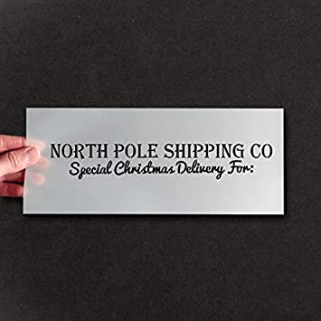 Christmas Box Wooden Crate Stencil - North Pole Shipping Special Delivery Stencil - Xmas Eve Box Stencil - Paint & Personalise Festive Projects (4.5x25cm) Ideal Stencils