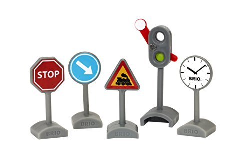 Brio World - 33864 Traffic Sign Kit | 5 Piece Toy Train Accessory for Kids Ages 3 and Up
