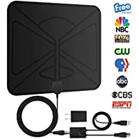 Ula HDTV Antennas Indoor Digital TV Antenna Thin 50 Mile Range Amplifier Free Reception with 10 Feet Signal Booster Upgraded Version Coaxial Cable ( Black )