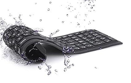 USB flexible plegable silencioso teclado de silicona para ordenador portátil PC negro