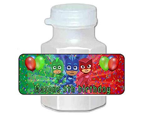 30 Personalized P.J. Masks Birthday Party Favor Bubble Labels