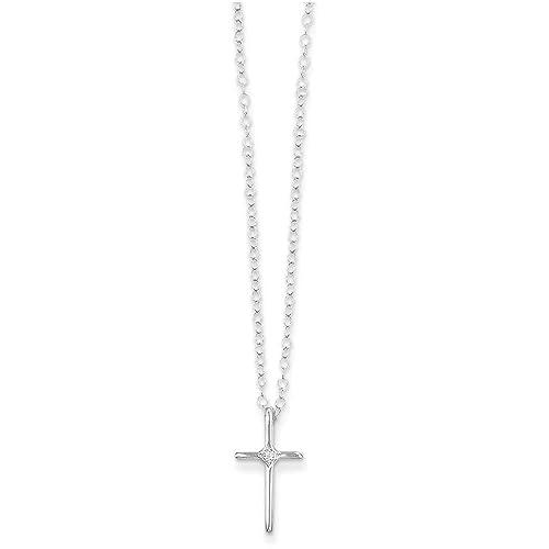 Amazon.com: 14 K oro blanco Madi K .01 Ct Diamond Collar Con ...