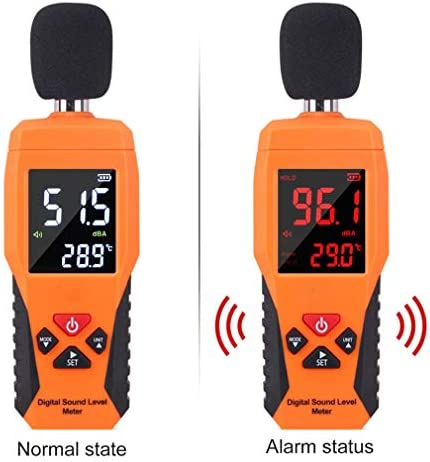 LIUHUI Digital Sound Level Meter, Decibel Meter Noise Measure Device with Large LCD Display High Accuracy Range 30-130dBA (Not Battery Included)