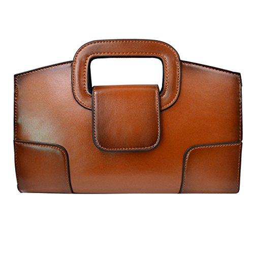 - Danse Jupe Women Retro Flap Tote Handbag Top Handle Clutch PU Leather Shoulder Chain Bag(Brown)