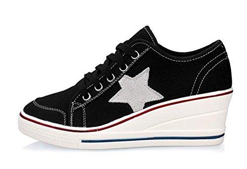 Cuna Zapatos Las Cuñas Mujer 6 de de Cerrado La de Lona Cordones Lona cm Tacon Deporte Zapatos negro de Wealsex wITqOFq