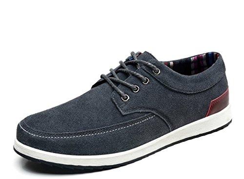 S1545 Bateau Suede Sneakers Plat Décontractées Chaussures Lace Mocassins Mâle Hommes Cuir Up Grey qgPUxaUf