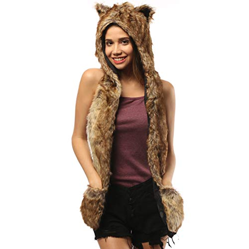 Furry Wolf Animal Hood Hat With Ears Fox Wolf Hoodie Novelty Faux Fur Hat Paws Scarf Gloves Mittens Halloween Cosplay Costumes Rave Festival Hat (Brown Wolf) -