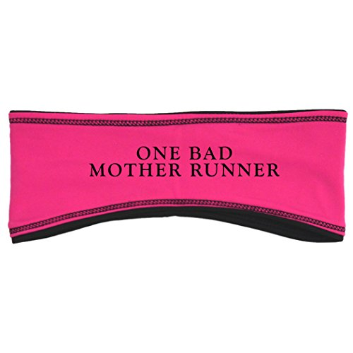 Gone For a Run Running Reversible Performance Headband One Bad Mother Runner - Pink Black