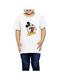 Aiguan Cartoon Mickey Mouse Toddler Short Sleeve T-Shirt Cozy Top Little Boy & Girl White