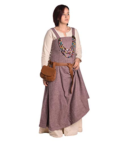 Anna - Medieval Viking Apron Overdress with Laced Back - Made in Turkey-Pnk-3XL/4XL Pink ()