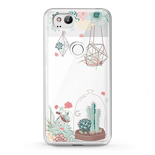 Lex Altern TPU Case Google Pixel 3 XL 2 Clear Phone Succulent Garden Cover Protective Floral Cactus Plant Design Crystal 2016 Print Vintage Soft Girl Women Flexible Flowers 2016 Silicone Lady