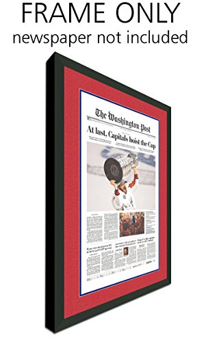 Washington Post Newspaper Frame - with Washington Capitals Colors Double Mat (Wall Covers Washington)