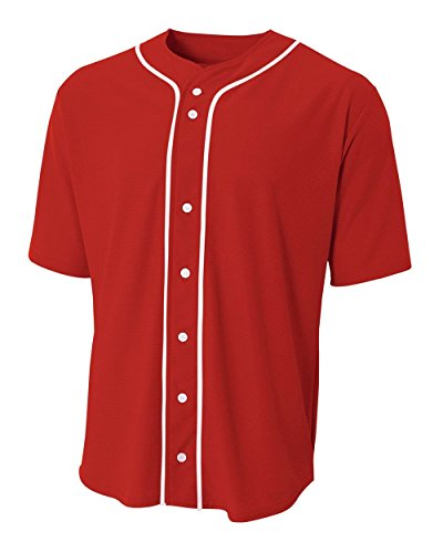 A4 Sportswear Red Youth Large  Full-Button Baseball Wicking