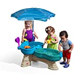 Step2 Spill & Splash Seaway Water Table | Kids Dual-Level Water Play Table with Umbrella & 11-Pc Accessory Set | Large Water Table