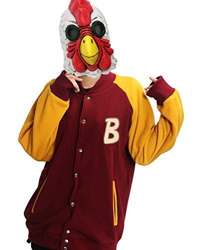 Jacket Rooster Mask with Hoodie Jacket Sweatshirt Costume for Halloween S - Jacket Hotline Miami Costume