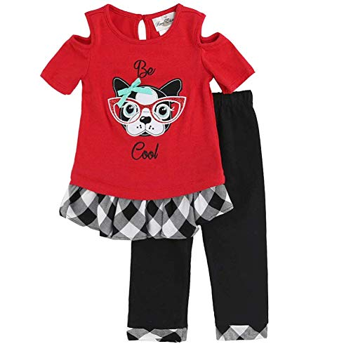 Rare Editions Little Girls Red Dog Face Print Plaid 2 Pc Pant Outfit 6X