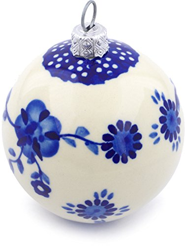 (Polish Pottery 3½-inch Ornament Christmas Ball (Delicate Poppy Theme) + Certificate of Authenticity)