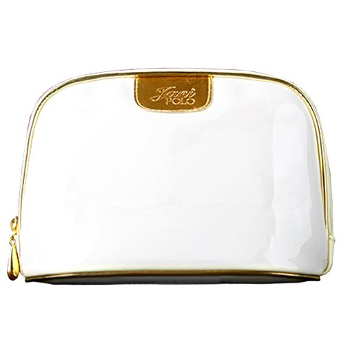 THEE Women Portable Travel Toiletry Bag Cosmetic Makeup Pouch Patent (White Patent Bag)