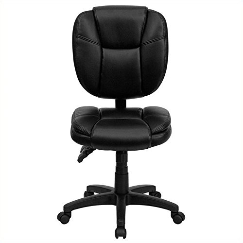 Flash Furniture Mid-Back Black Leather Multifunction Ergonomic Swivel Task (Lea Leather)