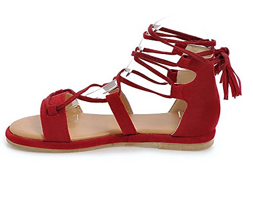 WeenFashion Solid Toe Red Open Low Sandals Heels Lace Frosted Women's up r8BqwaFxr