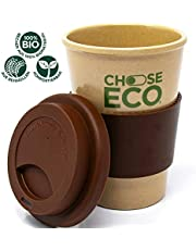 ChooseEco - Biologischer Kaffeebecher aus Reishülsen - 100% Pflanzlich - 0% Plastik - 0% BPA - Umweltfreundlich & Nachhaltig - Coffee to Go Mehrwegbecher Spülmaschinenfest