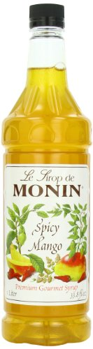 Monin Flavored Syrup, Spicy Mango, 33.8-Ounce Plastic Bottles (Pack of 4)
