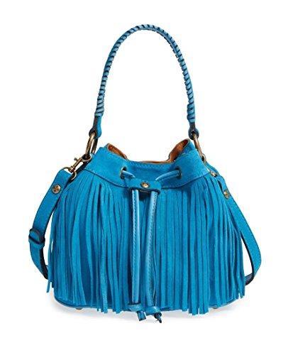 Patricia Nash Women's Suede Fringe Elisa Bucket Bag Neon Blue