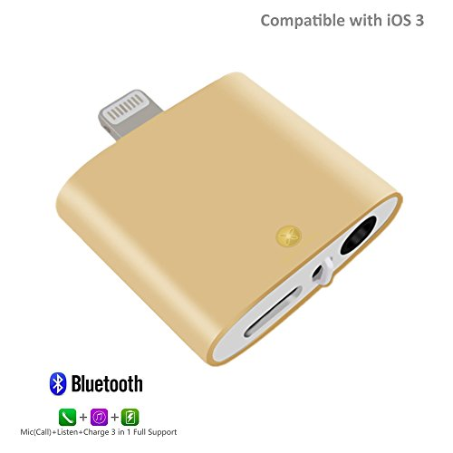 iPhone 7 Headphone Adapter, Advanced Lightning to 3.5mm Headphone Audio Jack Adapter with Call + Music + Charge via Bluetooth Supports iOS 10.3 for iPhone 7, iPhone 7 Plus (Gold)