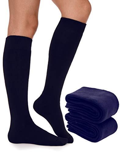 EBMORE Women Girls Thick Winter Warmer Soft Long Cotton High Sock Boot Cuffs 2 Pack (Blue)