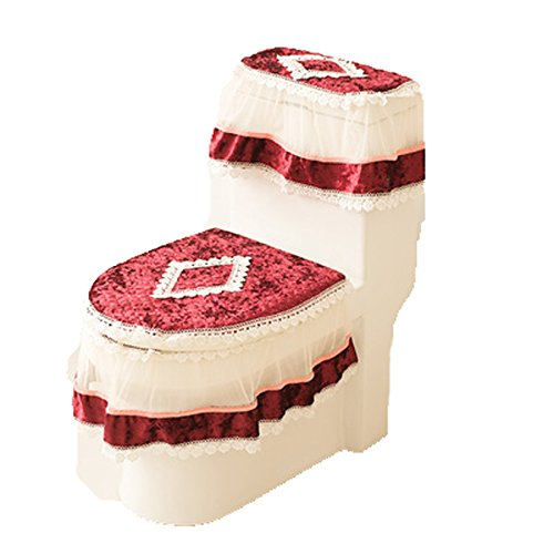 3PC Warmer Bathroom Set Toilet Seat Pad Tank Lid Top Cover Lace Toilet Pad Seat (red 1) Tank Cover Set
