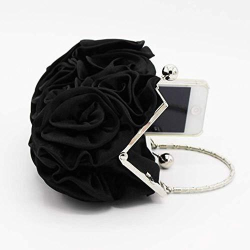 Rosa Black Boda 12cm El Las Nupcial Bolsos Seda La Embrague 5cm De Bolso color Suave Flor Mujeres Cheongsam Noche Black 20cm Tamaño Para XqTOn8x1