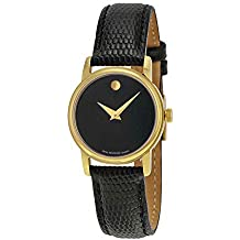 Movado 2100006 Womens Museum Gold Tone Stainless Steel Case Leather Strap Black Tone Dial Quartz